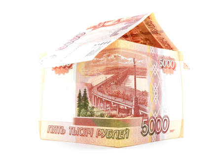 jawbone: Five thousand russian ruble house, rouble banknote, isolated, white background