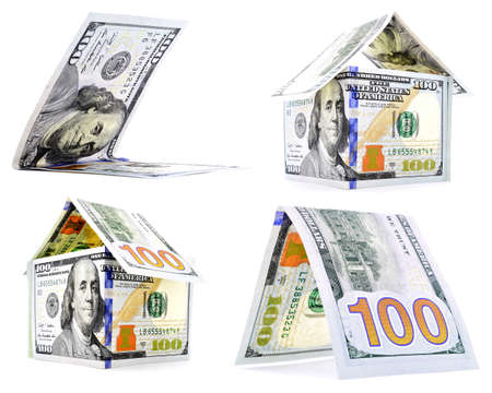strong toughness: Native dollar house, hut, corner set, isolated on white background
