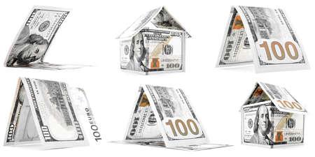 permanence: Orange money houses, huts, corner set, isolated on white background Stock Photo