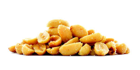 salted: Roasted salted peanuts pile, snack studio image, isolated, white background