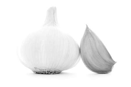 garlic clove: Clean clear garlic clove, whole healthy organic vegetable, bulb