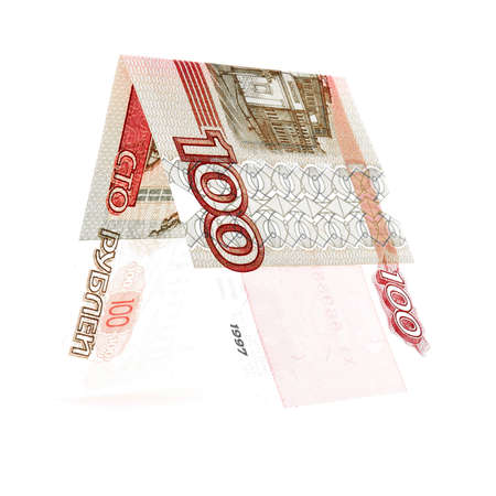 permanence: Red hundred rubles folded in half, russian roubles, isolated white