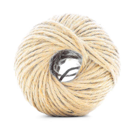 skein: Rope skein, jute roll, braided ball, isolated on white background Stock Photo