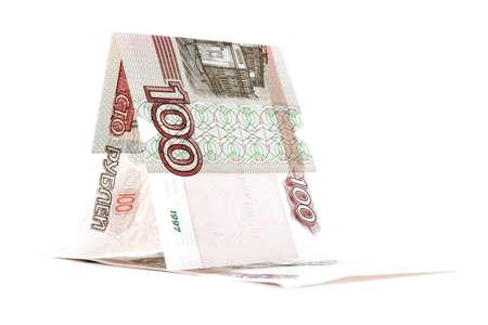 pez vela: Rusia pez vela billete de banco de la rublo, buque rublo, aislado en fondo blanco