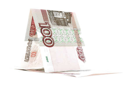 sailfish: Russian banknote ruble sailfish, rouble vessel, isolated on white background