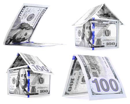 permanence: Blue dollar house, hut, corner set, isolated on white background