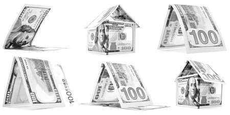 permanence: Black money houses, huts, corner set, isolated on white background Stock Photo