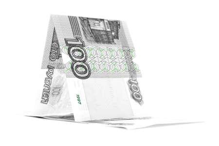 pez vela: Rusia pez vela rublo moneda, buque rublo, aislado en fondo blanco Foto de archivo