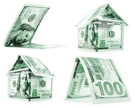 permanence: Green dollar house, hut, corner set, isolated on white background