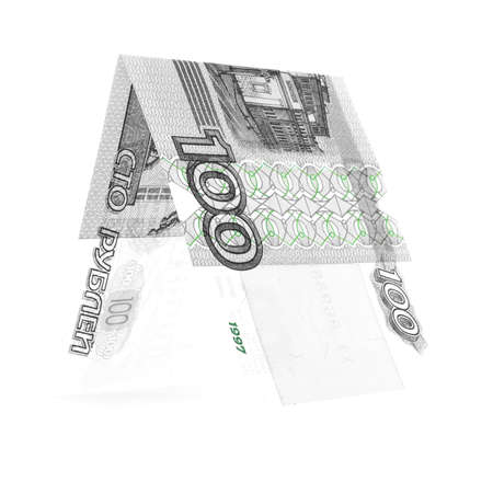roubles: Bicolor hundred rubles folded in half, russian roubles, isolated on white Stock Photo