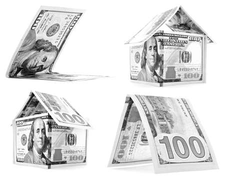 permanence: Black dollar house, hut, corner set, isolated on white background
