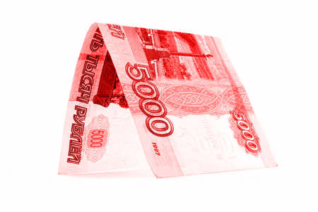 Russian ruble money cottage, rouble crib, isolated on white background