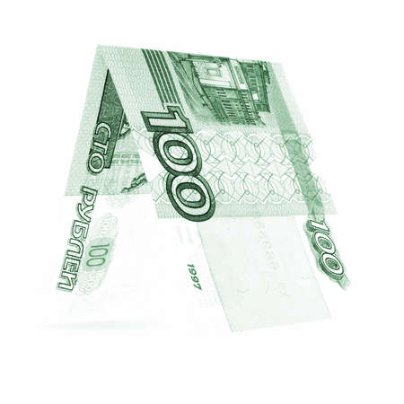 solidity: Green hundred rubles folded in half, russian roubles, isolated on white