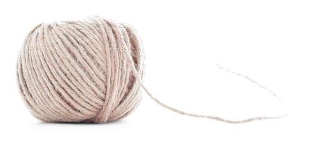 skein: Orange wool skein, crochet yarn roll, isolated on white background