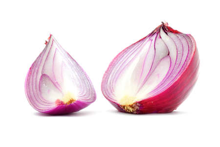 quater: Red onion bulb half and quater cut, vertical longitudinal section