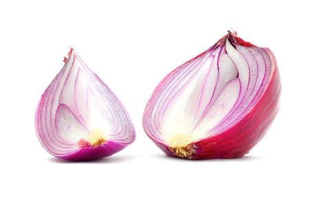 longitudinal: Red onion bulb half and quater cut, vertical longitudinal section