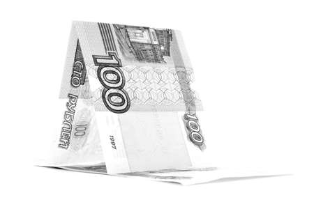 hovel: Russian cash ruble hovel, rouble wickiup, isolated on white background