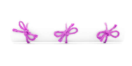 missive: White paper scroll tied with string, three pink nodes, isolated