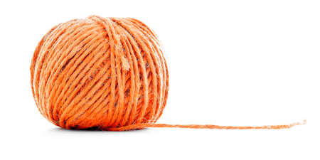 Orange fiber clew, sewing yarn ball, isolated on white background