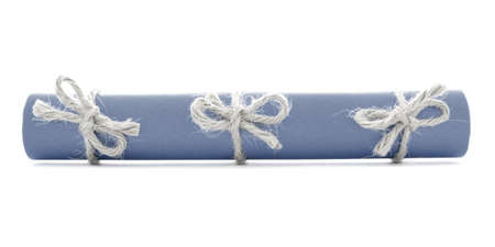 missive: Blue paper tube tied with rope, three natural nodes, isolated Stock Photo
