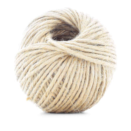 skein: Cord skein, hemp roll, traditional ball, isolated on white background