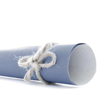 natural rope: Handmade natural rope node tied on blue message scroll, isolated