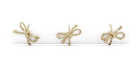 White letter tube tied with cord, three handmade bows, isolated