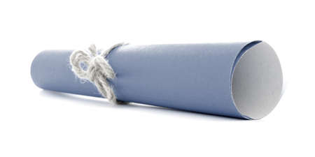 missive: Blue letter roll tied with defocused natural rope knot, isolated
