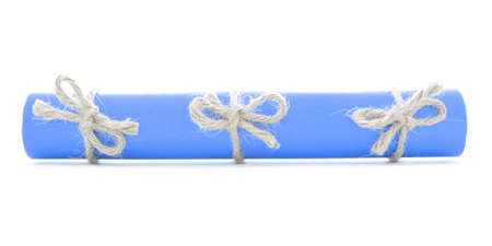 missive: Blue message tube tied with rope, three natural bows, isolated