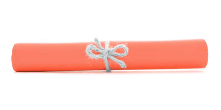 missive: Orange letter roll tied with cord, one natural knot, isolated
