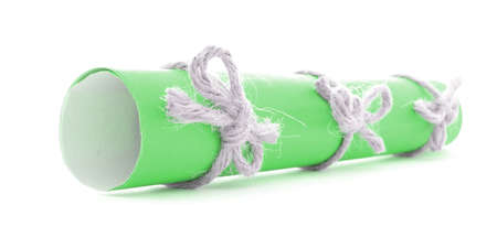 missive: Green letter roll tied with rope, three natural nodes, isolated