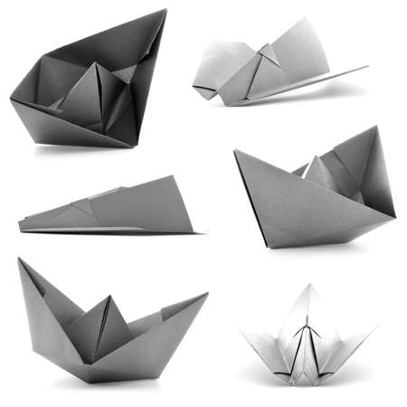 origami paper: Monochrome origami collection, airplane, ship photoset, isolated on white background Stock Photo