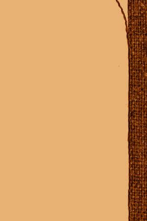 weft: Textile weft, fabric image, khaki canvas, worn material bagging background Stock Photo
