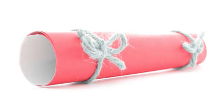 missive: Red paper tube tied with rope, natural bows pair, isolated