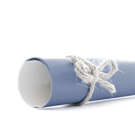 natural rope: Handmade natural rope knot tied on blue letter tube, isolated