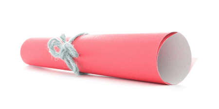missive: Red message roll tied with cord, handmade natural bow, isolated Stock Photo