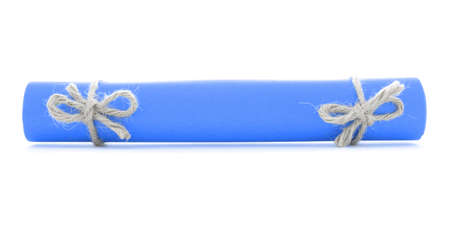nodes: Blue message scroll tied with string, natural nodes pair, isolated Stock Photo