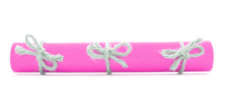 nodes: Pink message scroll tied with rope, three natural nodes, isolated Stock Photo