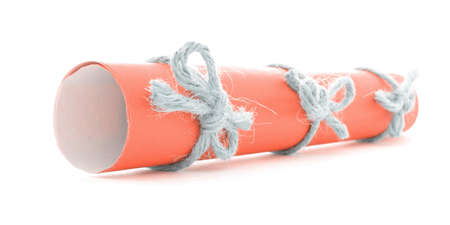 nodes: Orange message tube tied with rope, three natural nodes, isolated Stock Photo