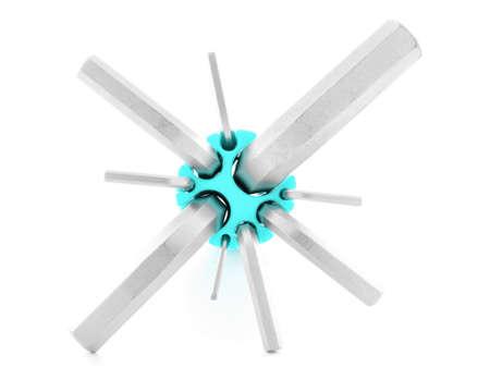screw key: Hexagonal key, chrome tool for screw, isolated, on white background