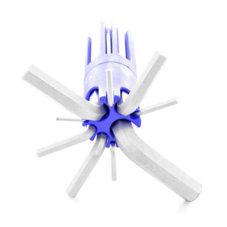 allen key: Allen key, chrome tool for repair, isolated, on white background