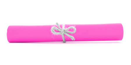 node: Pink paper scroll tied with string, single natural node, isolated Stock Photo