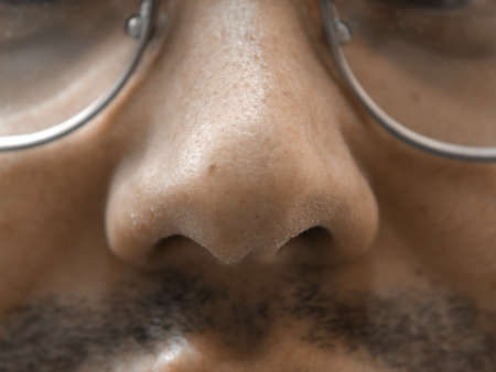 nostril: Nose macro, natural unshaven mens face skin, spectacles and mustache