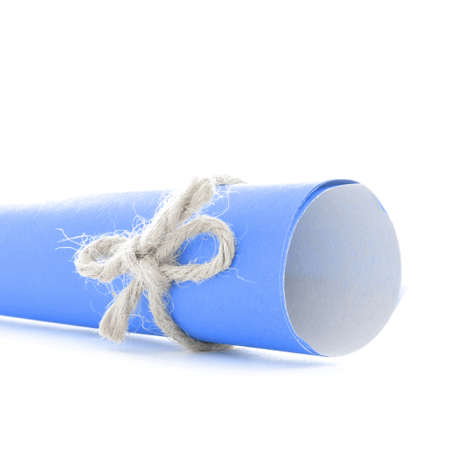 missive: Handmade natural string knot tied on blue message tube, isolated