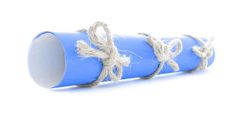 nodes: Blue message roll tied with rope, three natural nodes, isolated Stock Photo