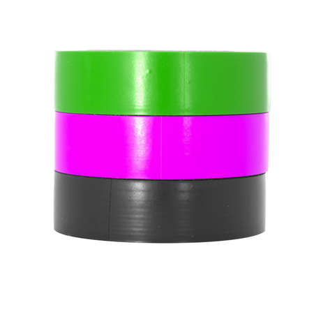 coils: Green, pink, black insulating tape coils, isolated on white background