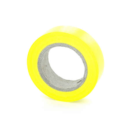 sellotape: Protecting adhesive yellow insulation tape coil, isolated on white background