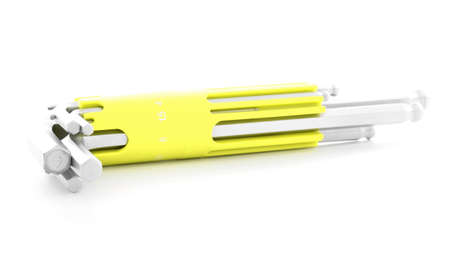 hex key: Hex key, chrome tool for industry, isolated, on white background Stock Photo