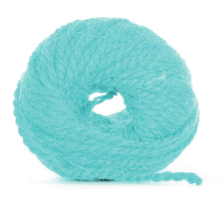 Roll of wool, cyan skein, isolated on white background