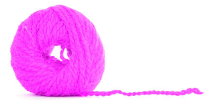 ravel: Roll of wool, magenta texture, isolated on white background